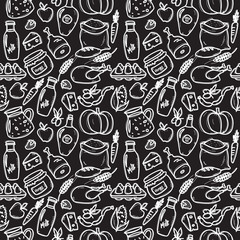 Vector organic food doodle style chalkboard seamless pattern.