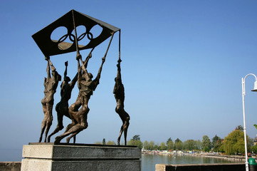 Statue in front of the Olympic Museum at Lausanne, Switzerland