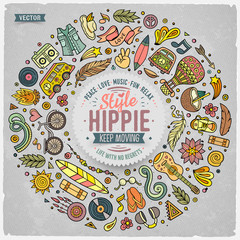 Set of Hippie cartoon doodle objects, symbols and items