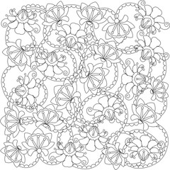 Stylized black and white hand drawn  flower pattern, anti stress, vector illustration