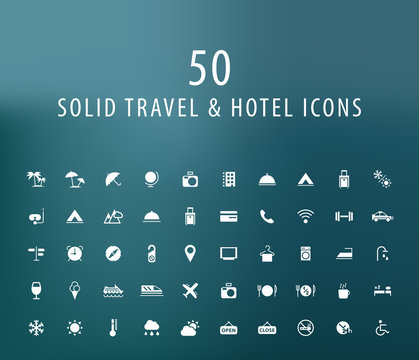 Set of 50 Universal Travel and Hotel Icons. Isolated Elements.