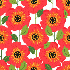 Seamless pattern with poppy flowers. Can be used for web and book design, home decor, fashion textile, wallpaper.