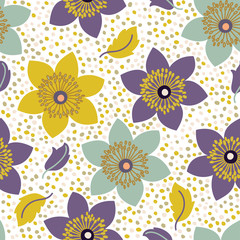 Seamless pattern with narcissus flowers. Can be used for web and book design, home decor, fashion textile, wallpaper.