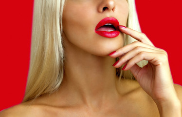 Beautiful blonde with red lipstick