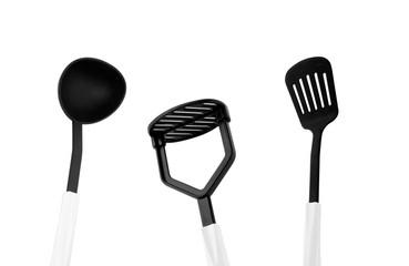 black kitchen utensils isolated on white