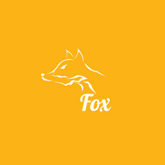 vector fox sign label or tattoo design.