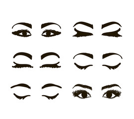 Eyes and brows collection, sketch for your design