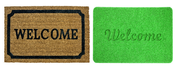 Welcome mats isolated over white