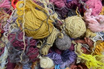 Various colorful wools close up