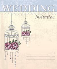 Vector Wedding Invitation Card in pastel tones