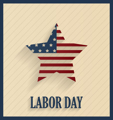 Labor Day retro poster with striped star. Vector illustration.
