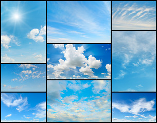 Beautiful collection of clouds in the blue sky. Elemenyty for designs.