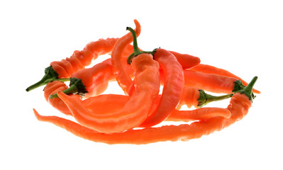 orange hot chili pepper isolated on a white background