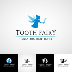Tooth fairy dental logo template. Teethcare icon set. dentist clinic insignia, orthodontist illustration, teeth vector icon design, oral hygienist concept for stationary, tooth branding t-shirts
