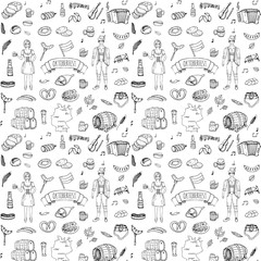 Seamless pattern hand drawn doodle set of Oktoberfest icons. Vector illustration set. Cartoon Bavarian elements. Sketchy collection: Sausage, Beer Barrels, Bread, Girl and Man in traditional costumes.