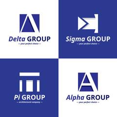 Vector minimalistic negative space greek letters logo set