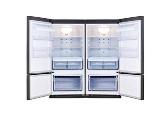modern refrigerator with open doors