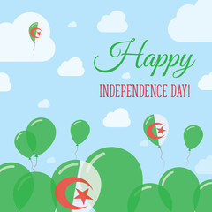 Algeria Independence Day Flat Patriotic Design. Algerian Flag Balloons. Happy National Day Vector Card.