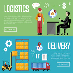 Logistics and delivery banner set of logistics process services isolated vector illustration. Warehouse management concept.
