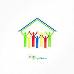 Bright People House, Vector Illustration