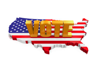 """USA Map with """"Vote"""" Text"""