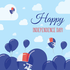 French Southern Territories Independence Day Flat Patriotic Design. French Flag Balloons. Happy National Day Vector Card.