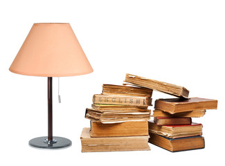 old books with a lamp