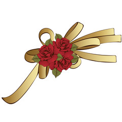 Gold bow with red flowers roses. Painted decorative element, hand-drawing, cartoon detail. Vector illustration