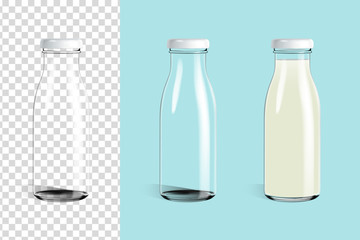 Empty glass bottle and glass milk bottle ready for your design . Packaging vector