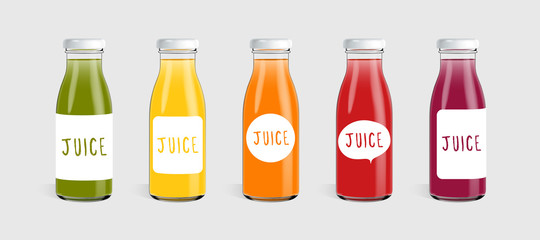 Glass juice bottle with label template ready for you design. Packaging vector