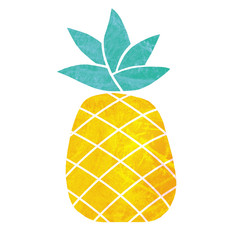 One pineapple on white background. Tropical fruit. Health symbol