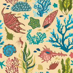 Seamless pattern with corals and fish.