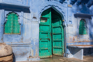 Traditional blue house in Blue City Jodhpur, India...
