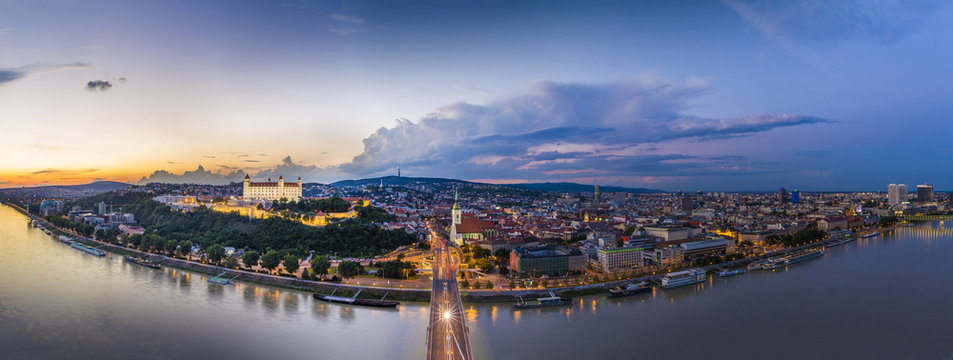 Bratislava, Slovakia - Panoramic View with the Castle and Old Town at Sunset