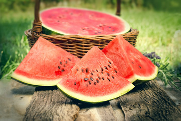 Sweett red watermelon - Slices of refreshing watermelon on the table
