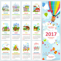 Calendar for 2017 with set of colorful towns. greeting card with