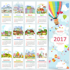Calendar for 2017 with collection of cute cityscapes. greeting c