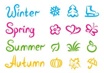 Four seasons - handwritten inscriptions and symbols