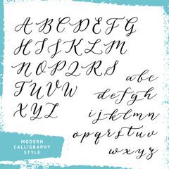 Modern calligraphy style alphabet