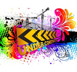 colorful under construction sign