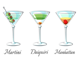 Popular alcoholic cocktails icons on white background with signs vector illustration