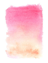Pink to pale orange vertical color gradient painted in watercolor on clean white background