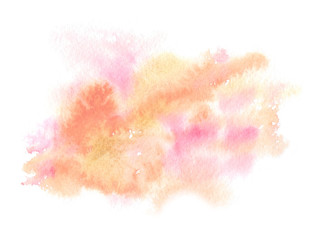 Pastel orange and pale pink splatter painted in watercolor on clean white background