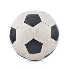 Old soccerball on white background