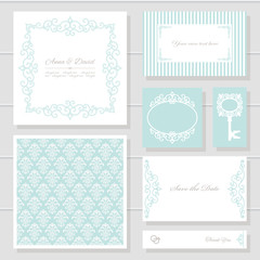 Invitation cards and templates set.