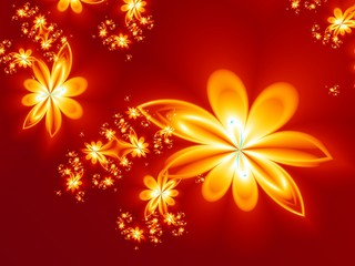 Flower fire pattern in fractal design. Artwork for creative desi