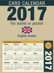 Useful card calendar 2017 for wallet or pocket, ready for printing in full color. Size: 90mm x 55mm. English version
