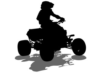 Fototapete - Silhouettes athletes ATV during races on white background