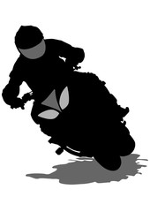 Wall Mural - People and sport bike on white background