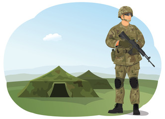 Soldier in uniform, ready to fight. Army camp. Military tents on the background.